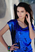 Retro Girl In Shiny Blue Outfit — Stock Photo