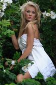 Fashion Model In White Summer Dress — Stock Photo