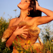 Topless Woman In Sunshine - Stock Photo