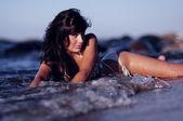 Seductive Woman In Ocean Surf — Stock Photo
