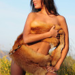Stock Photo: Naked WomIn Fur
