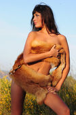 Naked Woman In Fur — Stock Photo