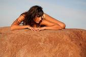 Pretty Girl Lying On Rock — Stock Photo