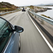 Car driving the Norwegian Atlantic road — Foto Stock