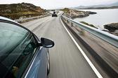 Car driving the Norwegian Atlantic road — Stock Photo