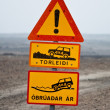 Iceland traffic signs - it's dangerous driving over there! — Stock Photo