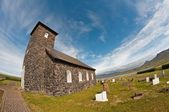Stone church in the coutry (Tngeyri Church, Iceland) — Stock Photo