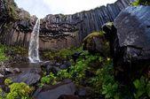 Svartifoss, famous Black waterfall, popular tourist spot in Iceland's Skaftafel national park — Stock Photo