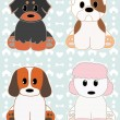 Cute Puppies set 2 - Stock Vector