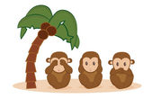 Three little monkeys — Stock Vector