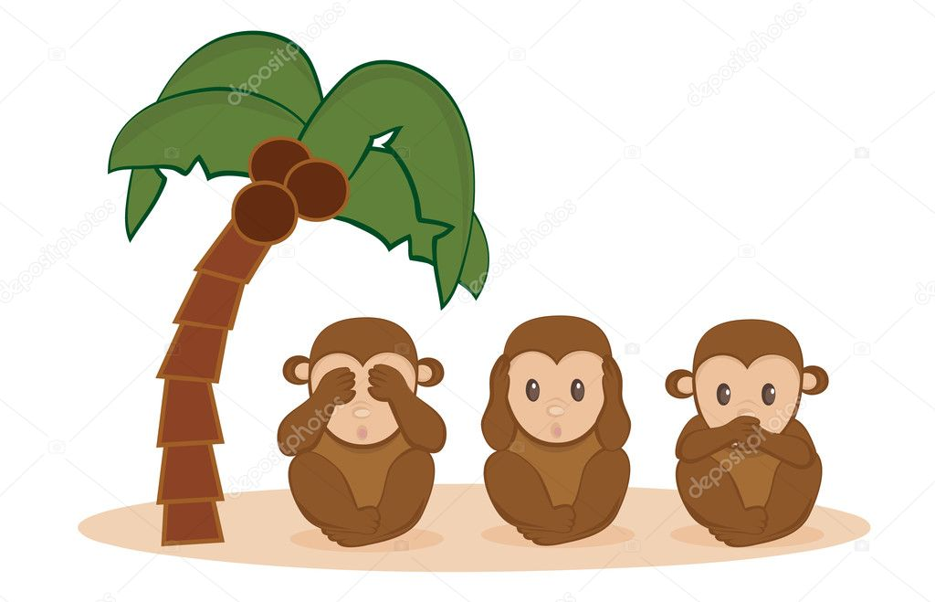 Three little monkeys. See no evil, hear no evil, speak no evil. — Stock Vector #10246834