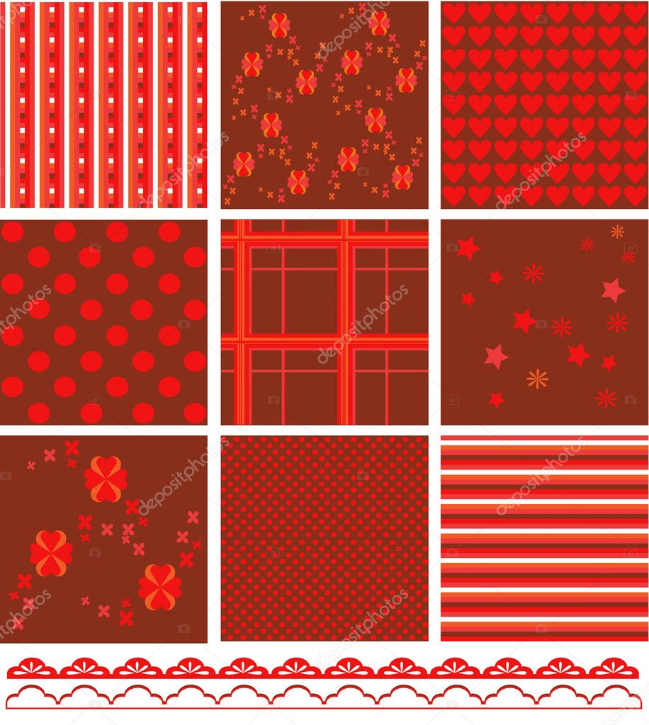 Red and brown romantic pattern  Stock Vector #10246869