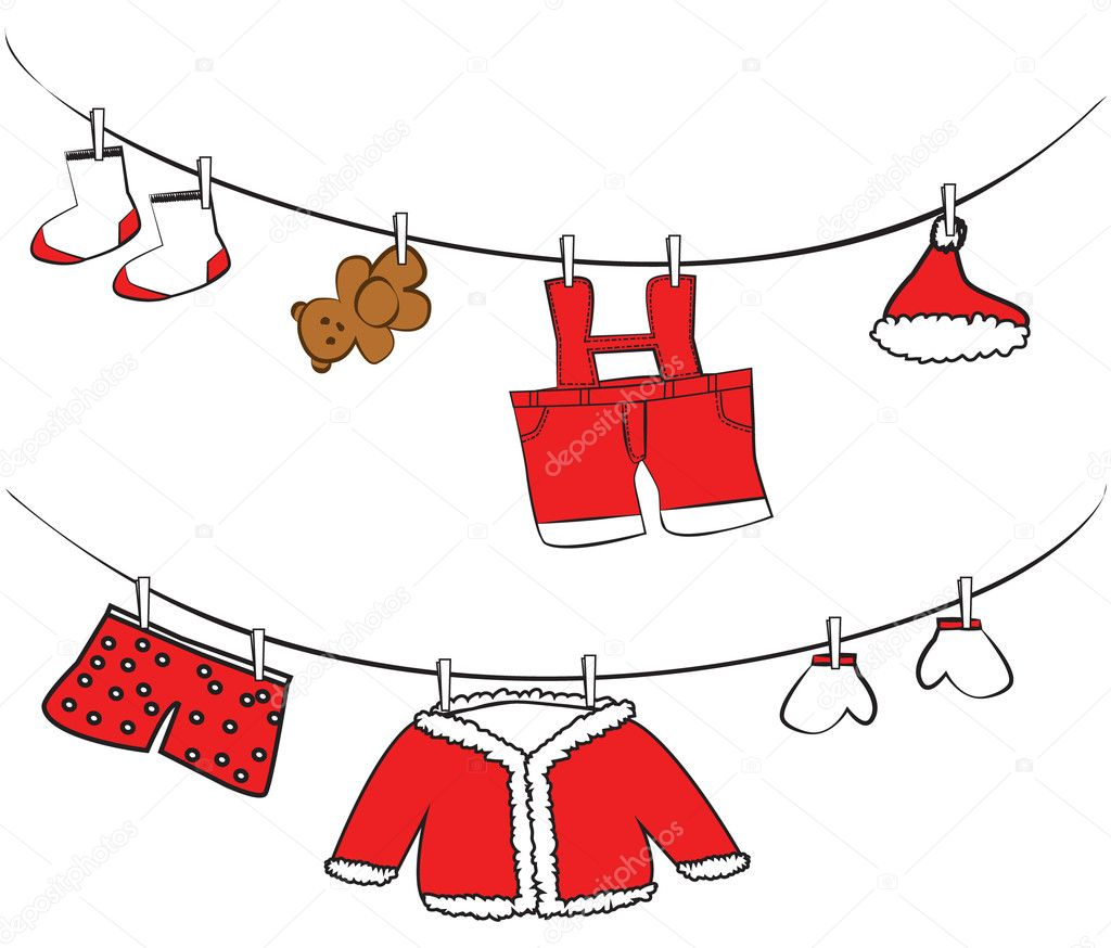 Cute red clothes hanging illustration — ベクター素材ストック #10246912