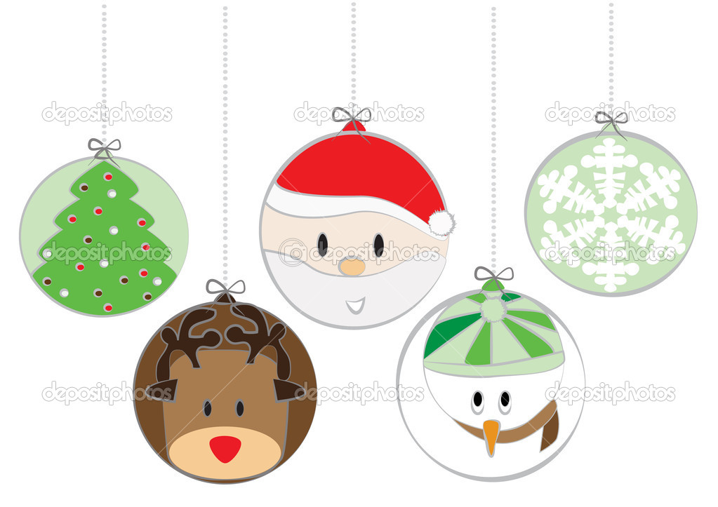 Lovely and cute Christmas balls — Stock Vector #9981248