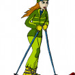 Stock Vector: Skier in green