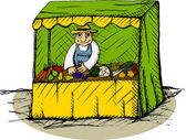 Vector illustration of greengrocer in the booth — Stock Vector