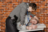 Police interrogated a suspect — Stock Photo