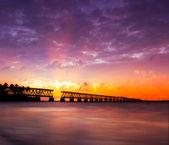 Florida Keys, broken bridge at sunset or sunrise — Stock Photo