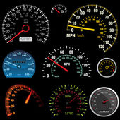 Set of car speedometers — Stock Vector