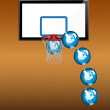 Playing basketball with globe — Stock Vector