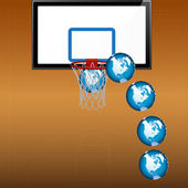 Playing basketball with globe — Vecteur