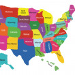 USA map with states - Stock Vector