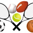 Sports balls and tennis rackets — Stock Vector