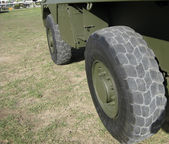 Massive army truck wheel — Stock Photo