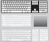 Vector Computer Keyboards and track pad — Stock Vector
