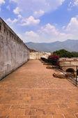 Ancient outdoor brick courtyard — Stock Photo