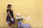 Street woman bread vendor — Stock Photo