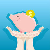 Piggy Bank in the women's hands — Stock Vector