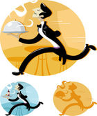 Waiter running with tray — Stock Vector