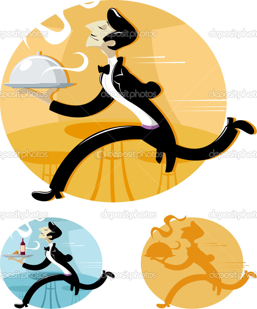 A cartoon waiter running with tray of food in restaurant. — Stock Vector #9545025