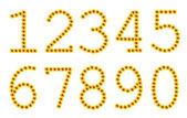 Flowered yellow numbers — Stock Photo