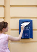 Girl and mail — Stock Photo