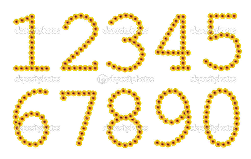 Flowered yellow Arabic numerals from zero to nine — Stock Photo #10262318