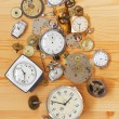 Old mechanical clocks and watch parts — ストック写真