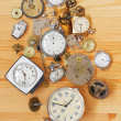 Old mechanical clocks and watch parts — Stok fotoğraf