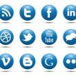 Blue media społeczne ikony — Wektor stockowy