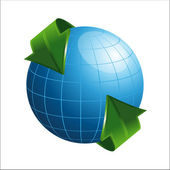 3D Globe with Arrows — Stock Vector