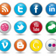 Color Social Media Icons — Stock Vector
