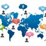 media społeczne świata mapa wektor — Wektor stockowy