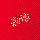 3D Dice on Red Background — Stock Vector