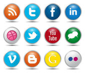Kleur social media iconen — Stockvector