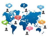 Social Media World Map Vector — Stock Vector