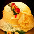 Stock Photo: Yellow hat with roses