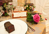 Table decorated for wedding — Stock Photo