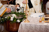 Preparation for an Orthodox baptism — Stock Photo