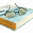 Stock Photo: Glasses and book